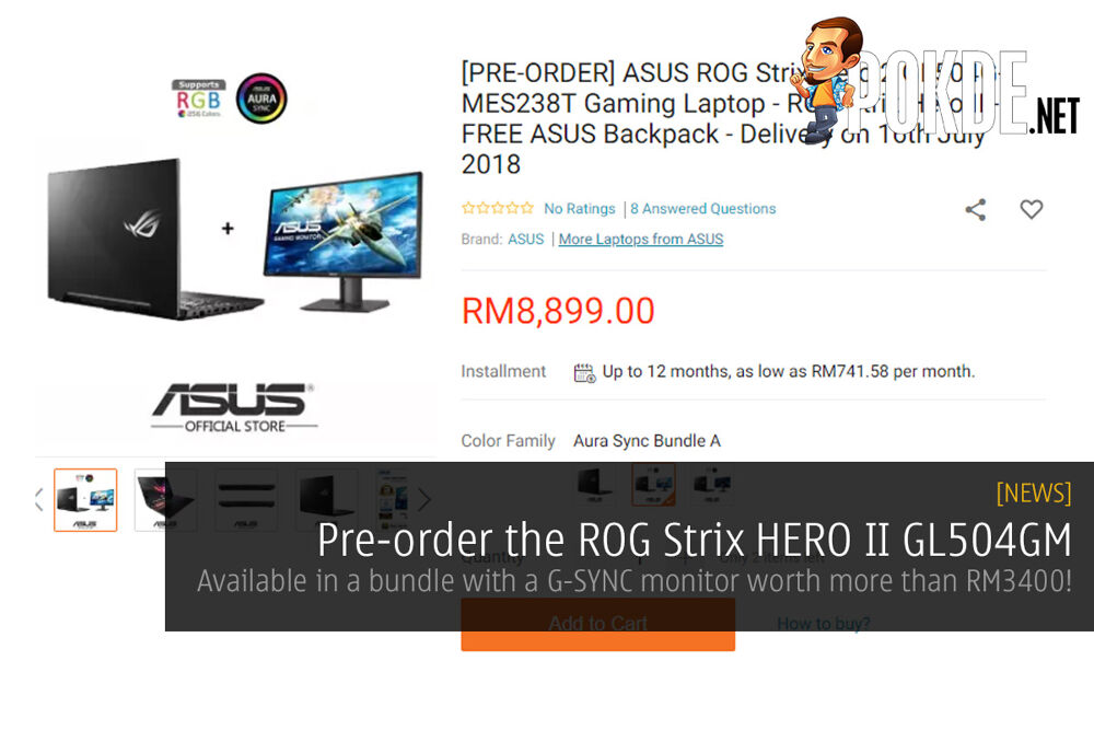 Pre-order the ROG Strix HERO II GL504GM — available in a bundle with a G-SYNC monitor worth more than RM3400! 32