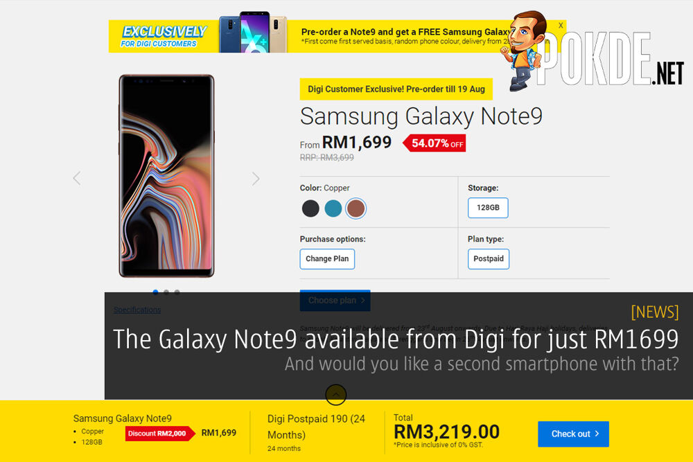Samsung Galaxy Note9 available from Digi for just RM1699 — and would you like a second smartphone with that? 22