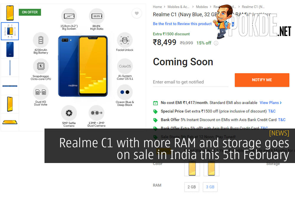 Realme C1 with more RAM and storage goes on sale in India this 5th February 19