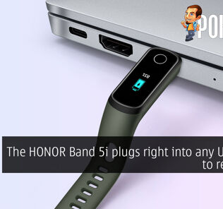 The HONOR Band 5i plugs right into any USB port to recharge 26