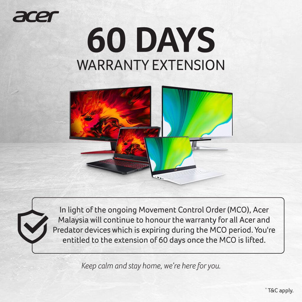 Acer Malaysia Extends Warranty By 60 Days for Warranties Expiring During MCO 20