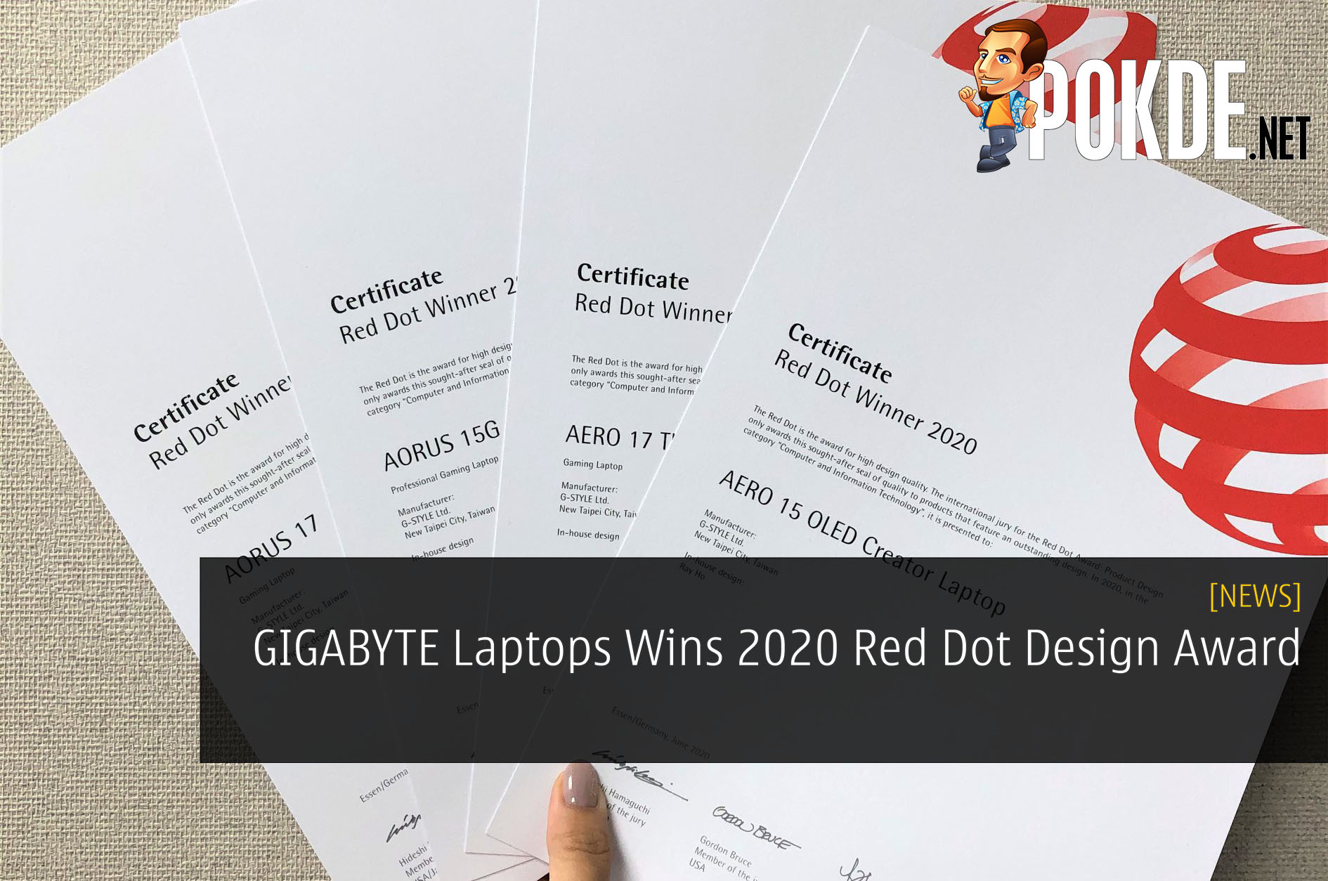 GIGABYTE Laptops Wins 2020 Red Dot Design Award 3