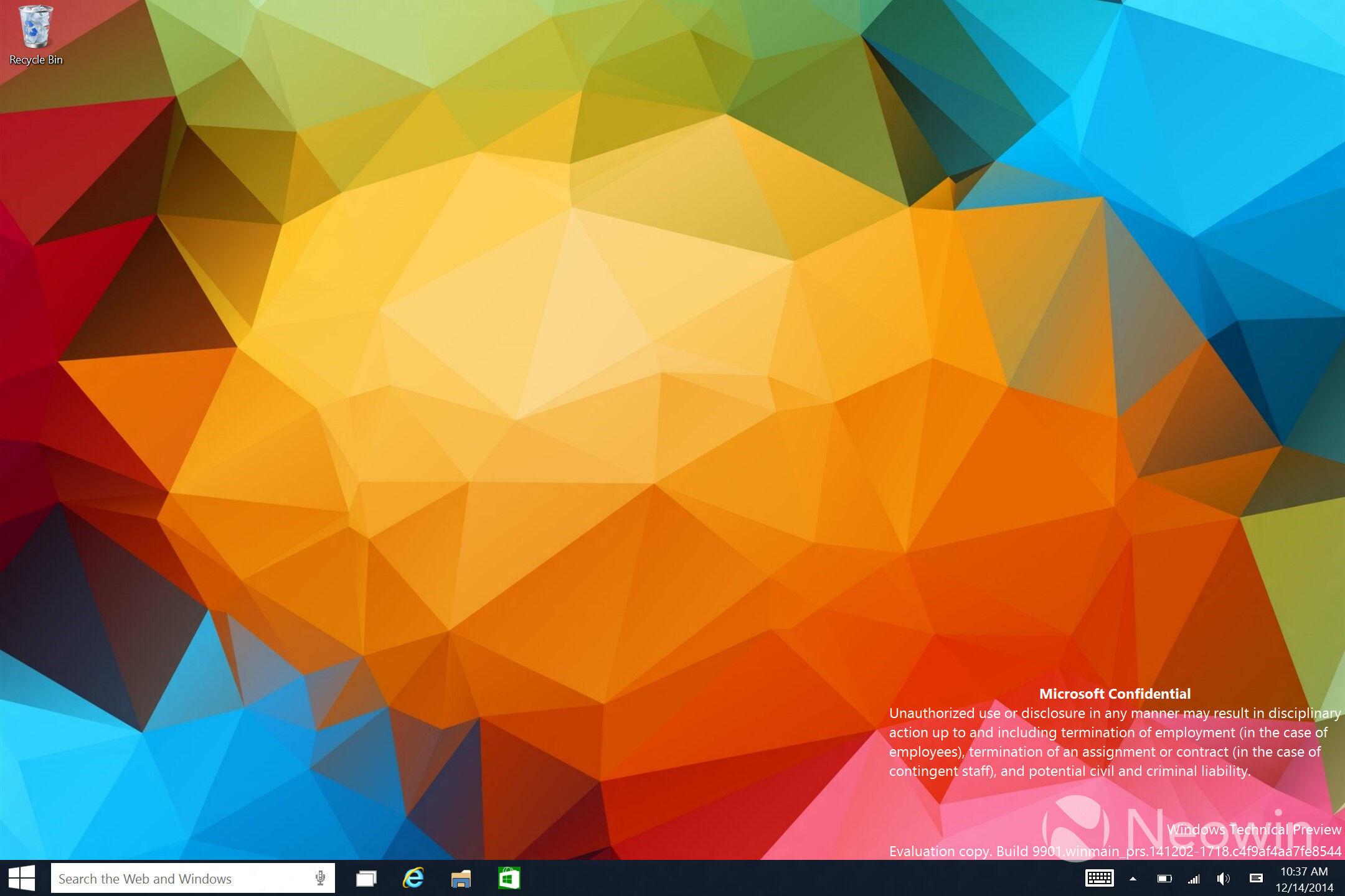 New UI design for Windows 10 build 9901 22