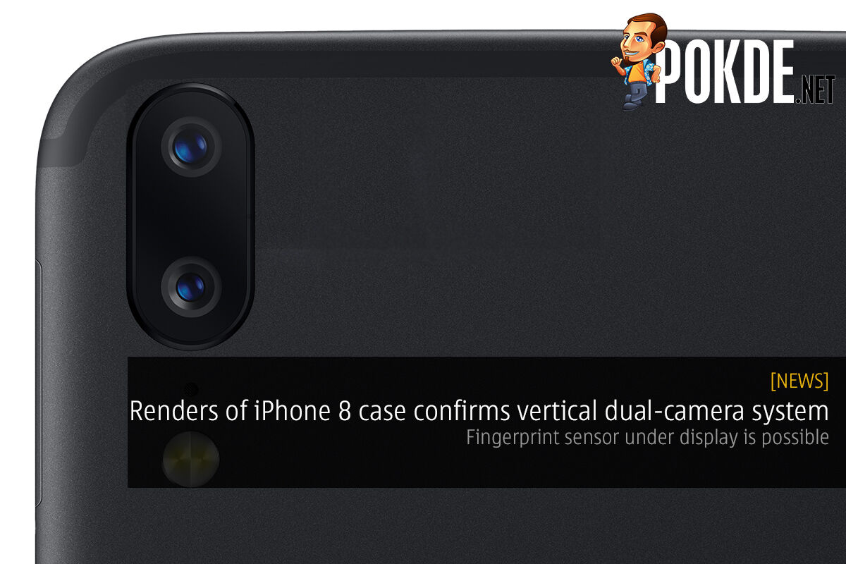Leaked renders of iPhone 8 case confirms vertical dual-camera system; fingerprint sensor under display is possible 30