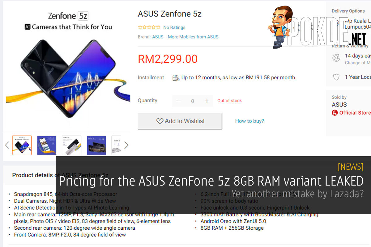Pricing for the ASUS ZenFone 5z 8GB RAM variant LEAKED — yet another mistake by Lazada? 30