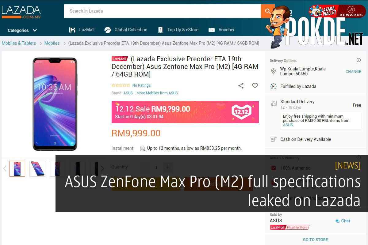 ASUS ZenFone Max Pro (M2) full specifications leaked on Lazada 26