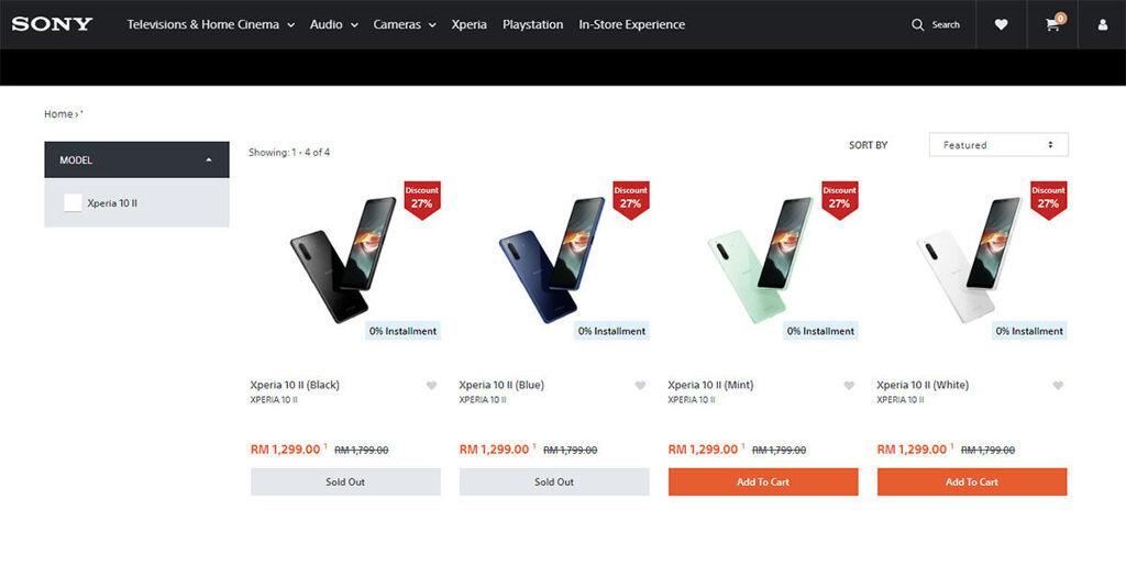 Sony Xperia 10 II rm1299 price
