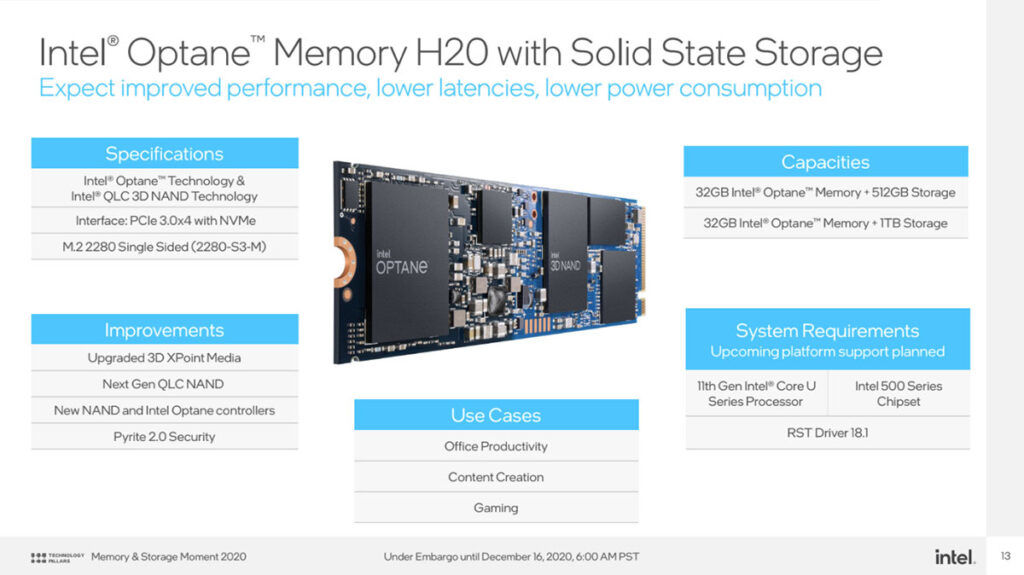 Intel Optane Memory H20 features