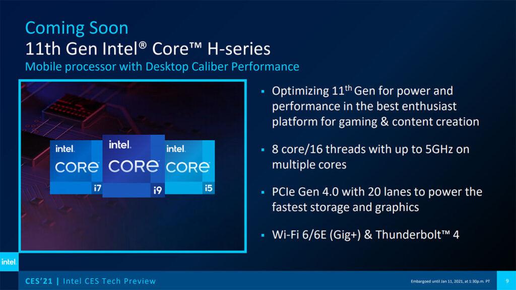 11th Gen Intel Core Tiger Lake 8C coming soon