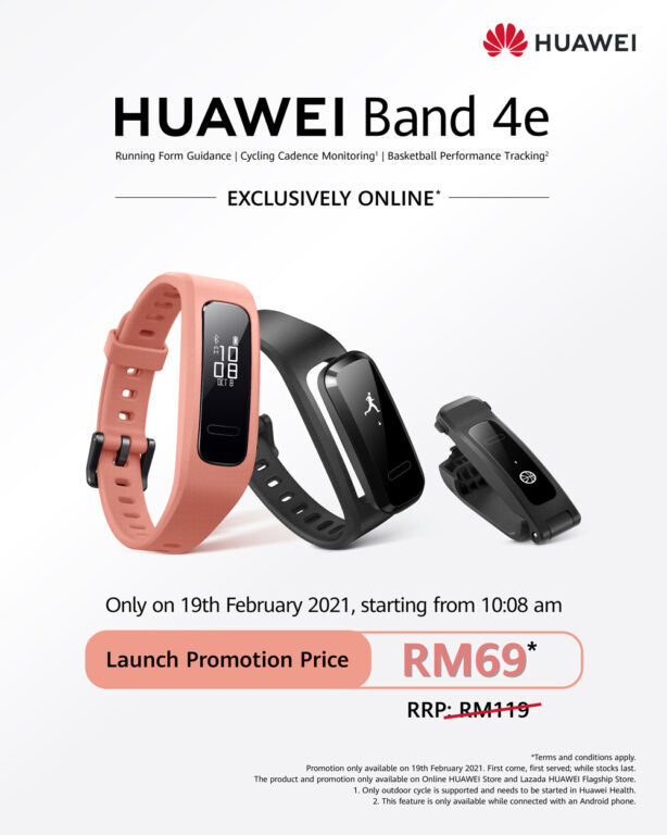 HUAWEI Band 4e Available At Launch At Promo RM69 Price 26