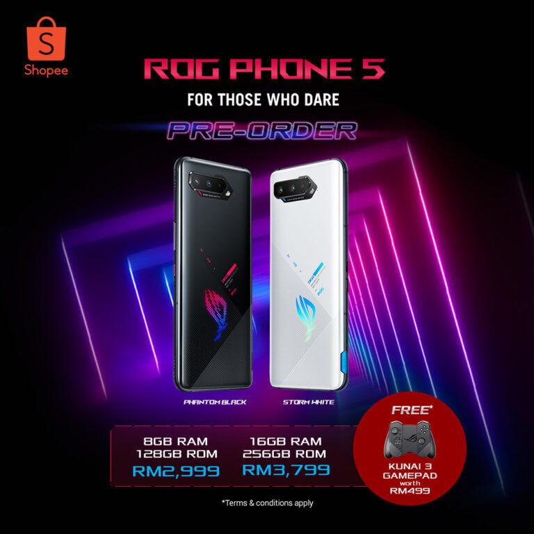 ROG Phone 5 with ROG Kunai 3 on Shopee