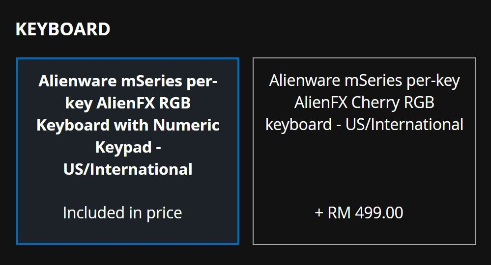 Dell Malaysia Updates Pricing for Cherry MX Keyboard on Alienware m15 R4 / m17 R4