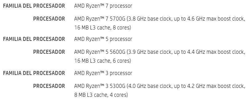 AMD Ryzen 5000G APU series HP