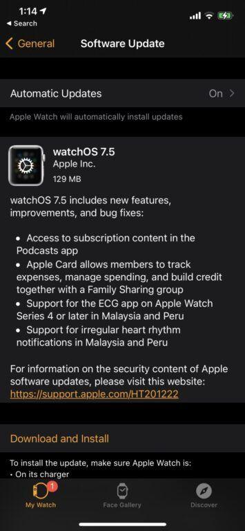 Apple Watch watchOS 7.5 RC update