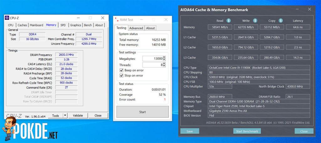 GIGABYTE AORUS RGB Memory 4800MHz Review OC 5200MHz CL21
