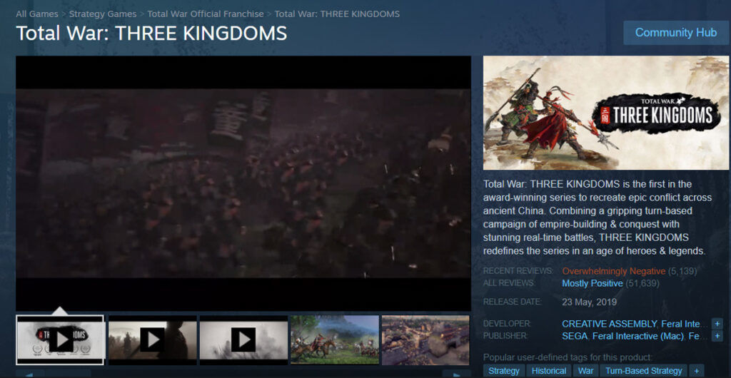 Total War Three Kingdoms negative reviews