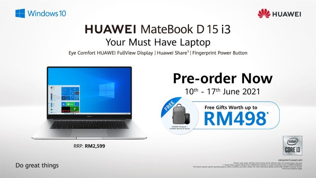 New HUAWEI MateBook D 15 i3 Available Now - Pre-order now to get RM498 worth of freebies 20