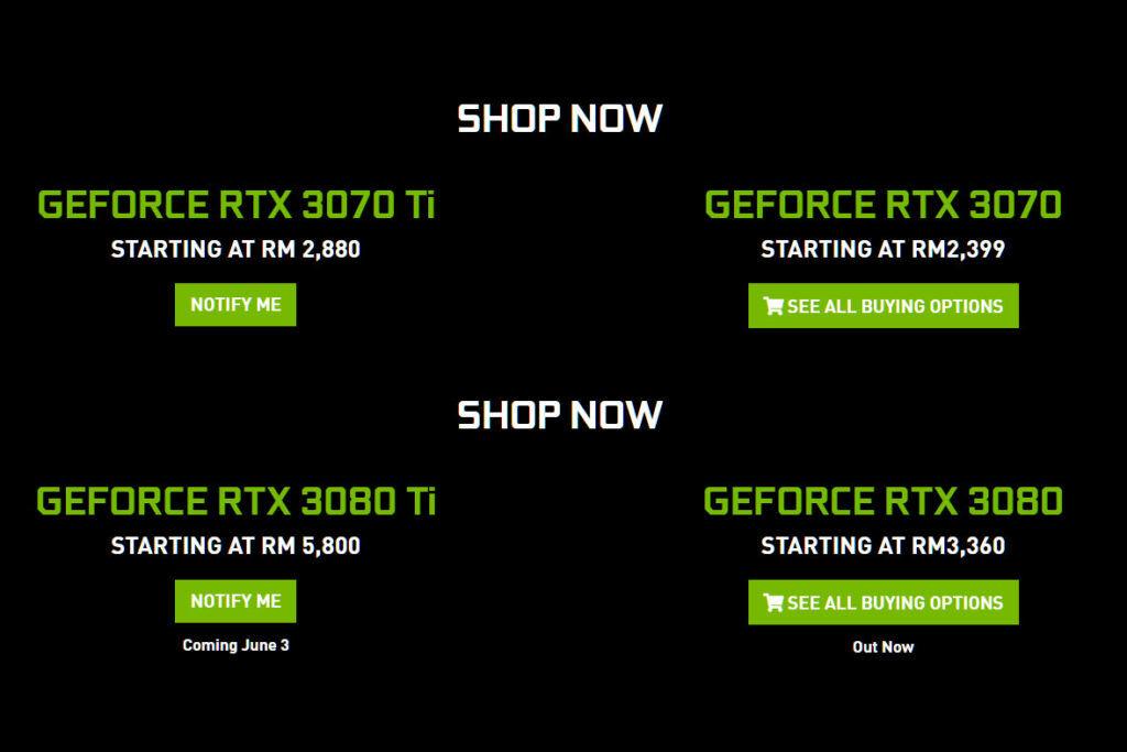 NVIDIA GeForce RTX 3080 Ti RTX 3070 Ti MSRP