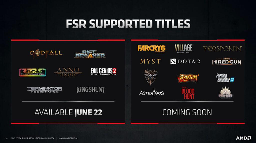 amd fidelityfx super resolution fsr supported games