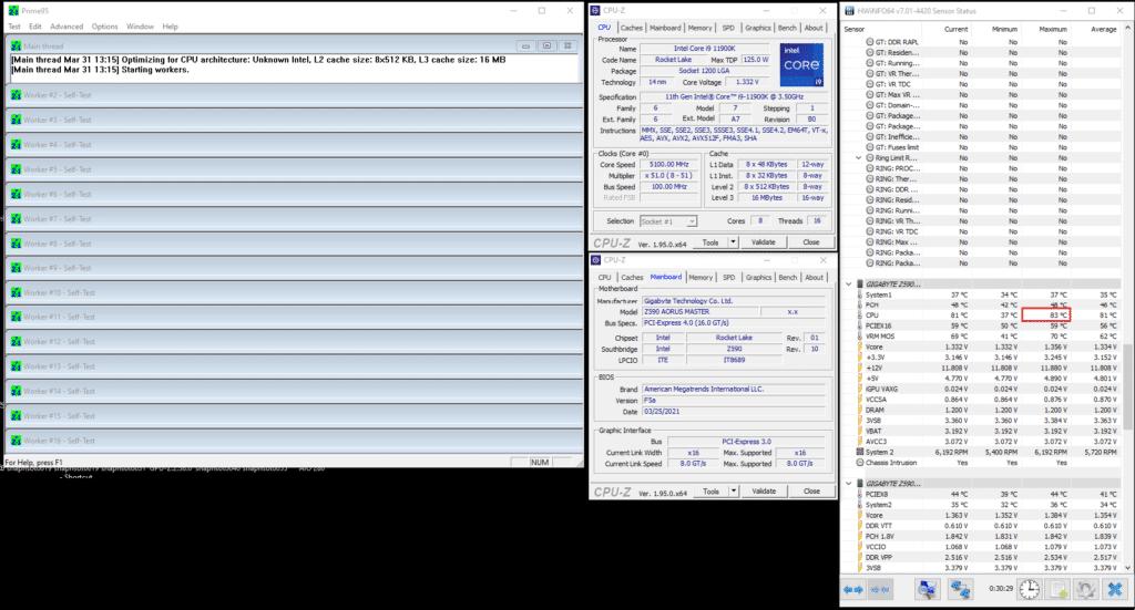 AORUS WATERFORCE 240 Prime95 Core i9-11900K