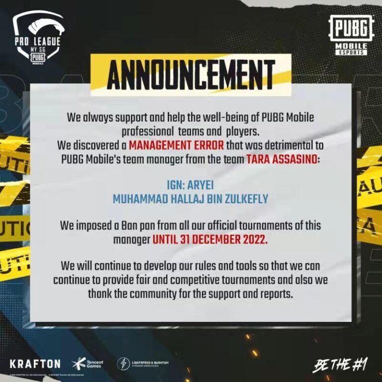 "TARA ASSASINO Manager Hit With ""Ban Pan"" By PUBG Mobile 20"