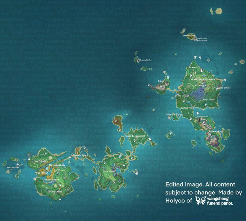 Genshin Impact 1.7 / 2.0 Leak Reveals Inazuma Map in its Entirety