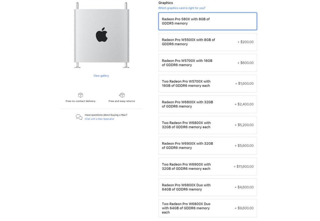 amd radeon pro w6000x series mac pro price