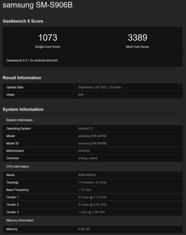 Alleged Exynos 2200 with AMD RDNA2 GPU Benchmarks